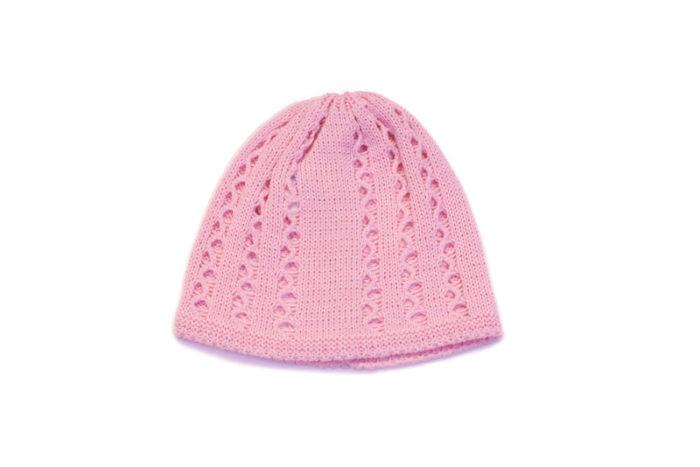 Roza pletena kapa za bebe