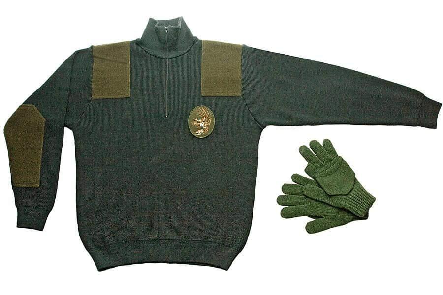 Pleteni lovački pulover i rukavice za lovce