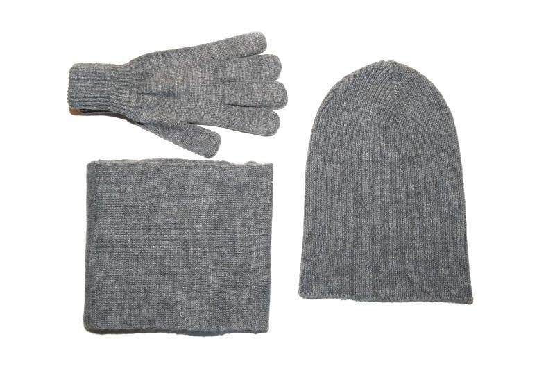 sivi komplet muška kapa, šal i rukavice